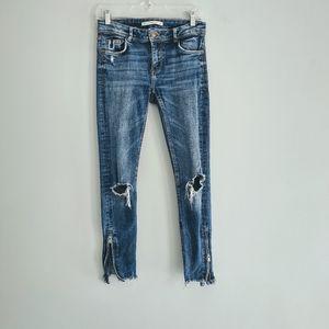Zara Trafuluc Denim Distressed Zipper Skinny Jeans